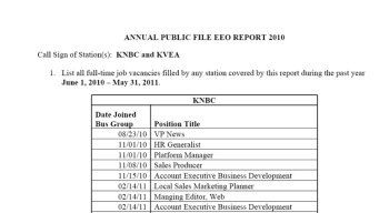 EEO Report for August 2011