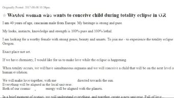 Man Posts Ad Seeking Woman to Make Total Solar Eclipse Baby