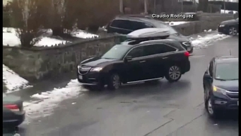 Icy Conditions Cause Scary Car Slide
