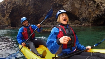 Get Outdoors with Ali Fedotowsky at Kayak Channel Island
