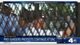 Large Crowd of Bernie Demonstrators Rally Outside DNC