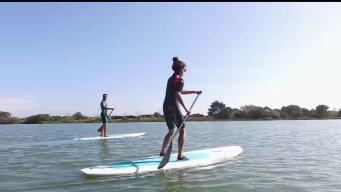 Paddle boarding Through Stinson Beach