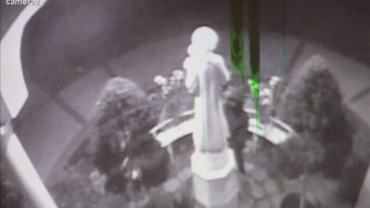 Security Camera Captures Church Statue Vandal