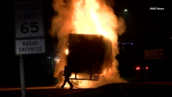 Semi Truck Goes Up in Flames Off 60 Freeway