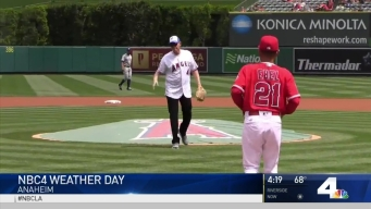 NBC4 GM Steve Carlston Throws First Pitch at Angels Stadium
