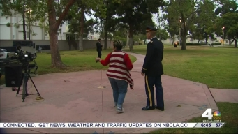 Volunteers Read Names of Fallen at Memorial Wall in Long Beach