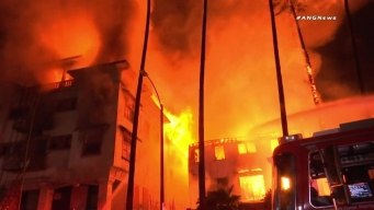 Raw Video: Fire Burns Westlake Apartment Building