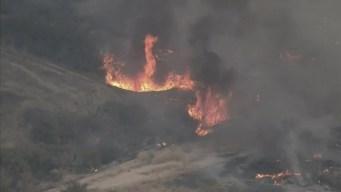 Firefighters Battle Fullerton Brush Fire Flare-Up
