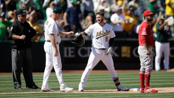 A's Score 7 in 7th to Beat Angels; Trout Hits 45th Homer