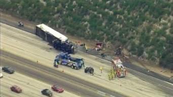 Lanes Open on WB 210 at La Tuna Canyon After Crash