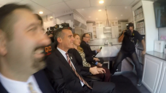 Mayor Garcetti Goes For a Spin in Earthquake Simulator