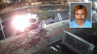 Man Caught on Camera Setting Patrol Car on Fire Outside Hawthorne Police Station