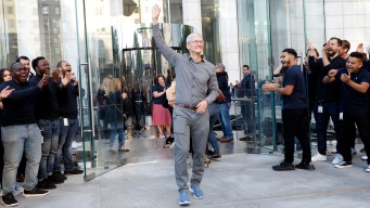 Tim Cook Greets iPhone 11 Customers at Fifth Avenue Store in New York
