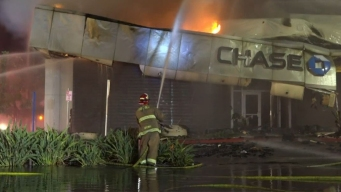 Fiery Crash Causes Chase Bank Roof to Collapse