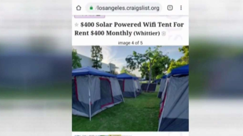 Craigslist Ad Offering Tents for Rent With Wi-Fi and Solar Pop Up in Whittier