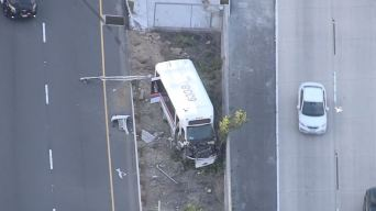 Pursuit With Shuttle Bus Ends in Crash