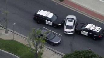 CHP Sandwiches Audi in Orange-to-LA County Freeway Pursuit