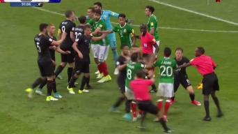Sparks Fly in Final Minutes of the Mexico-New Zealand Soccer Match