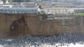 WATCH: Drone View of CA Cliff Erosion