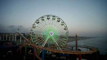 Ferris Wheel in Santa Monica Turns Green for Earth Day