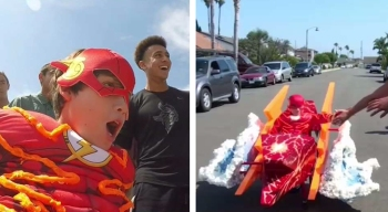 Boy's Wheelchair Transformed into Epic Flash Costume