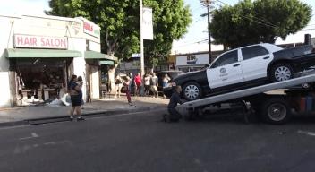 LAPD Cruiser Crashes into Boyle Heights Hair Salon