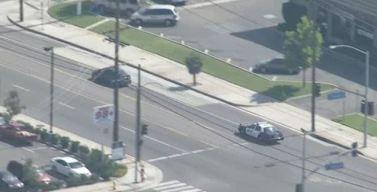Police Ram Sedan in Anaheim Pursuit