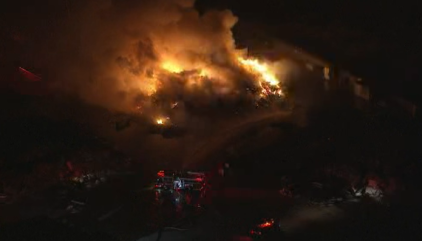 Wood-Pile Fire Flares in Irvine