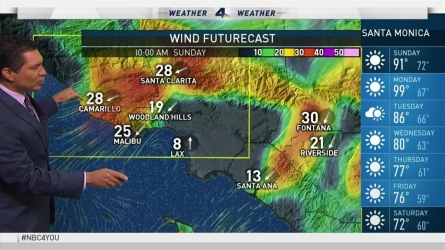 Warm temperatures and strong winds are expected. Anthony Yanez reports for the NBC4 News at 6 on Saturday, Sept. 24, 2016.