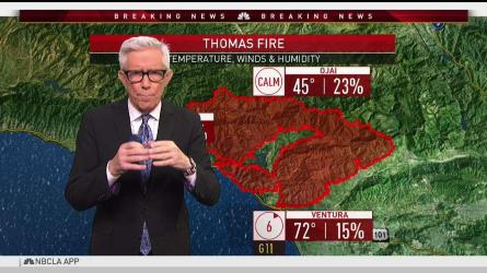 <p>Winds could come up again, complicating the fire fight against the Thomas Fire. Fritz Coleman has the forecast for the NBC4 News on Thursday, Dec. 14, 2017.</p>