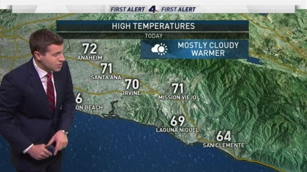 <p>With a thinner Marine Layer, clouds will clear by the late morning. Temperatures will be warmer as a result. David Biggar has your First Alert Forecast for Satuday, May 27, 2017.&nbsp;</p>