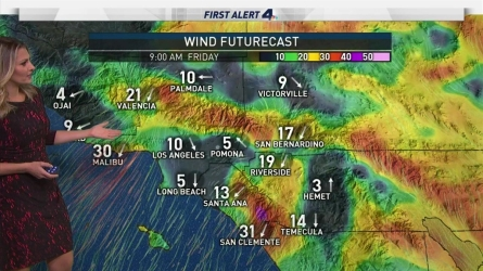 Chilly Santa Ana winds are expected to reach up to 60 mph in parts of SoCal. Crystal Egger has your First Alert Forecast on Friday, Dec. 2, 2016.