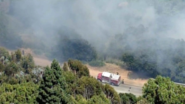 Brush Fire Burns in Oakland Hills