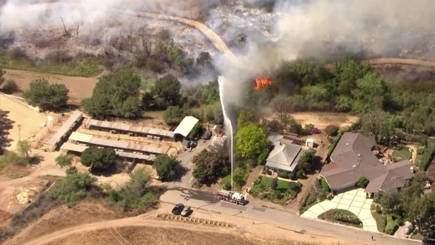 Crews Continue Battling 1 000 Acre Chino Brush Fire