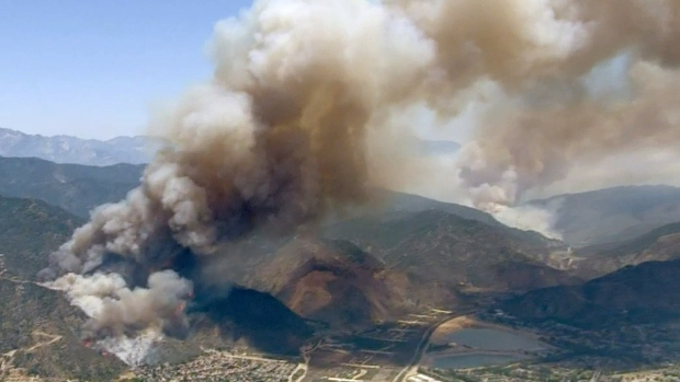 Aerial Images: Brush Fires Burn Simultaneously in San Gabriel Mountains
