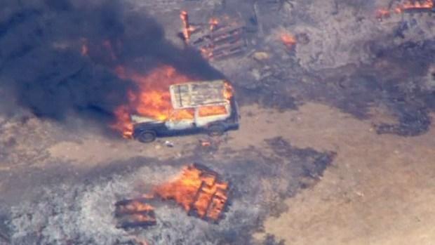 [LA] Raw Video: Blue Cut Fire Destroys Multiple Structures
