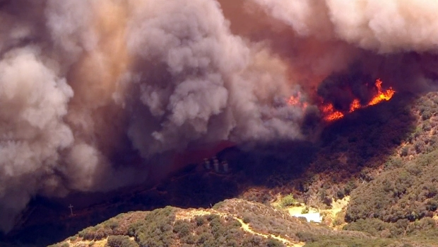 Aerial Images: Fire Makes Path Toward Structures in Cajon Pass