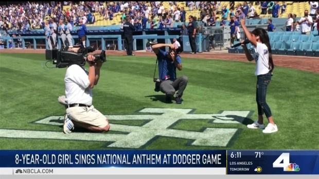 [LA] 8-Year-Old Sings National Anthem at Dodger Stadium