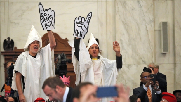 [NATL] Protesters in KKK Hoods Interrupt Senate Hearing for Jeff Sessions
