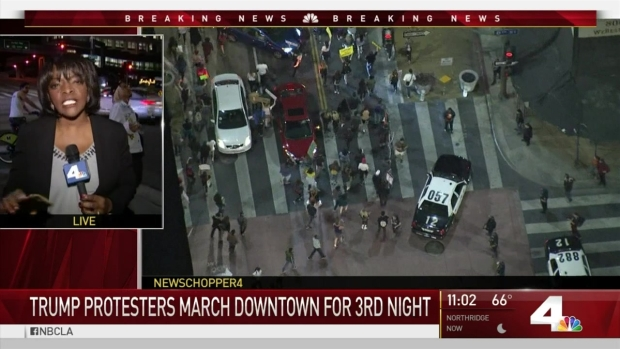 [LA] Anti-Trump Protesters March Downtown for Third Night