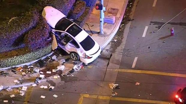 [LA] BMW Ends Up in Bushes After Pursuit Crash
