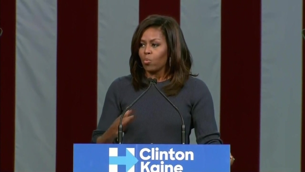 [NATL-NECN] Michelle Obama Blasts Trump's Comments on Women in NH