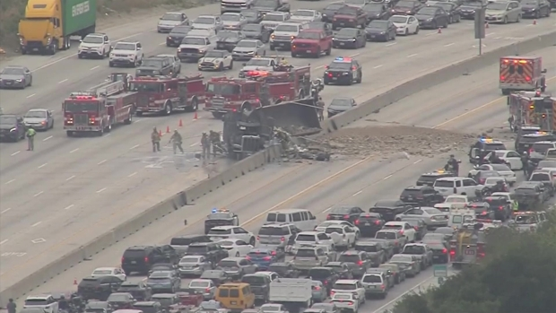 Big Rig Crash Shuts Down Lanes of 405 Freeway in Sepulveda Pass