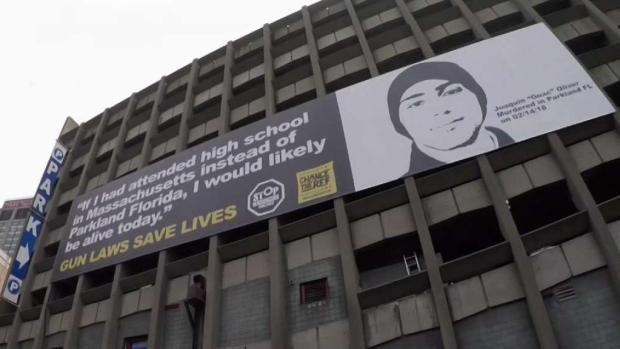 [NATL-NECN] Billboard in Back Bay Advocates Stricter Gun Control