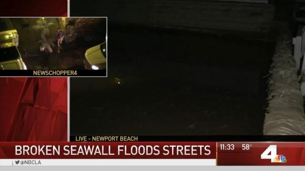 Broken Seawall Floods Newport Beach Streets