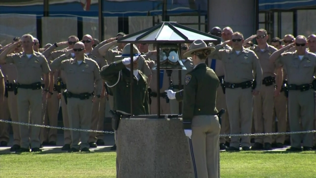 [LA] Bell Tolls as Colleagues Salute CHP Officer Andre Moye