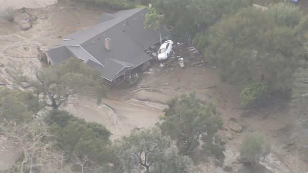 Storm Pushes Car Into House in Montecito