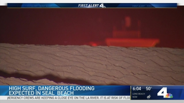 [LA] Concerns Over High Surf, Flooding in Seal Beach