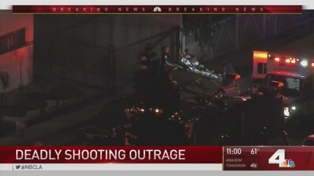 [LA] Crowds Gather in Area of Fatal Shooting and Traffic Stop