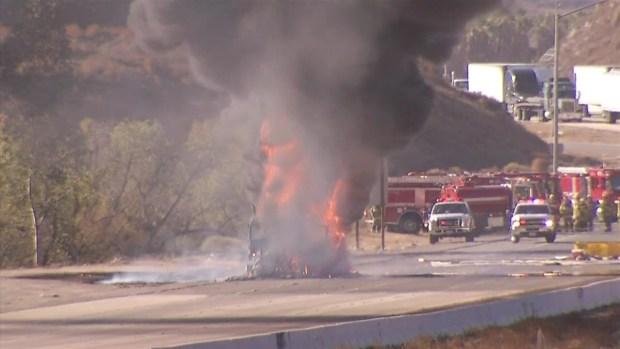 [LA] Tanker Erupts in Flames on 15 Freeway